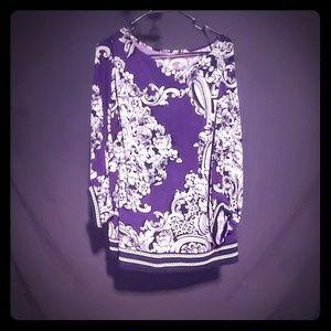 Alfani woman size 1x purple and white blouse